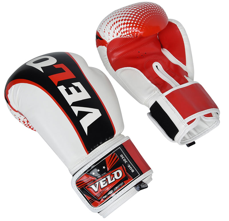 VELO Boxing Gloves - Black White Red