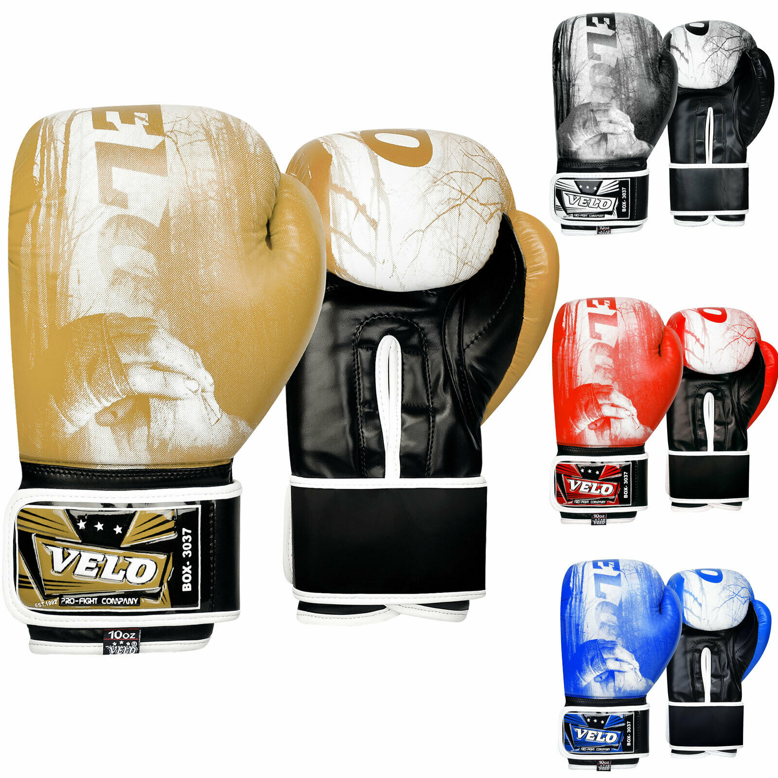 VELO Boxing Gloves - Gold Black Blue Black
