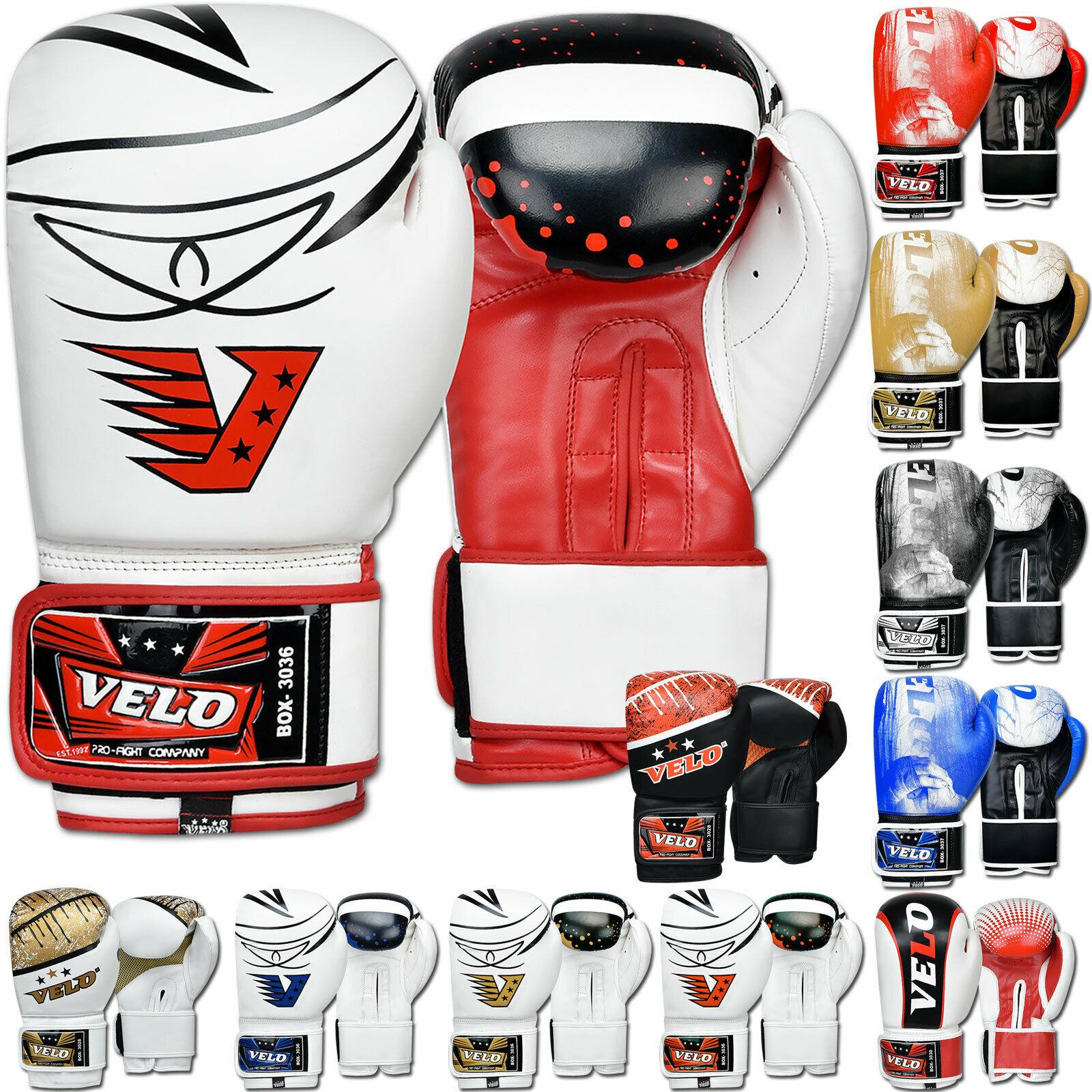 VELO Boxing Gloves Red-White New Boxing Gloves